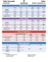2019-2020 Tarifas generales